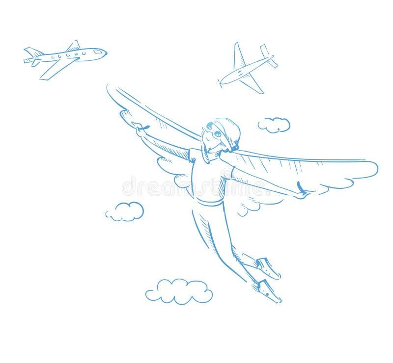 有翼的一个男孩 到达梦想 库存例证