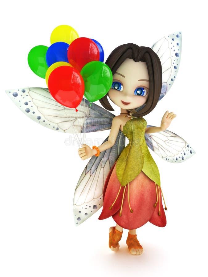有翼的微笑逗人喜爱的印度桃花心木的神仙拿着在白色背景的气球的 向量例证