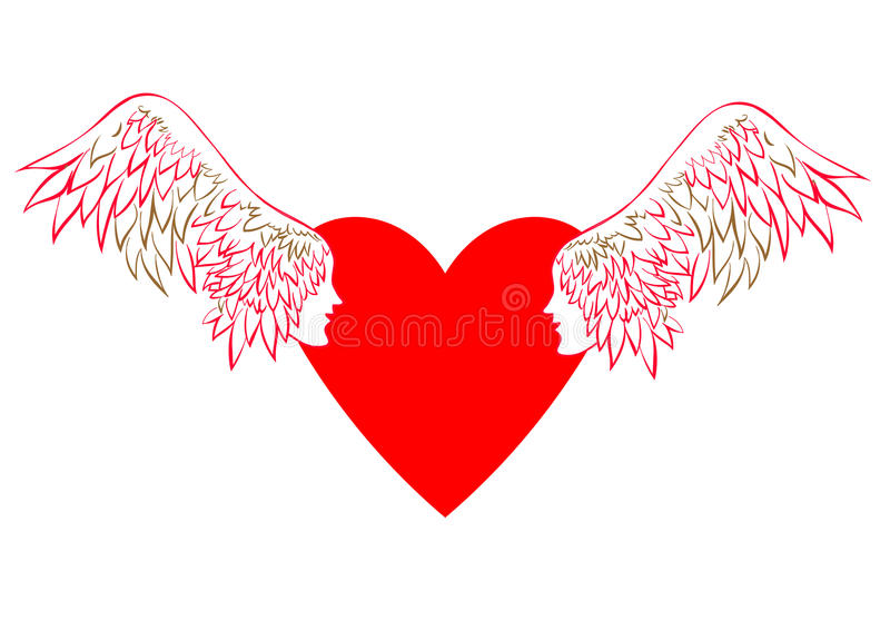 有翼的恋人 传染媒介天使翼 库存例证
