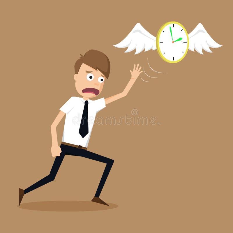 有翼的时钟飞行远离商人的逃命 皇族释放例证