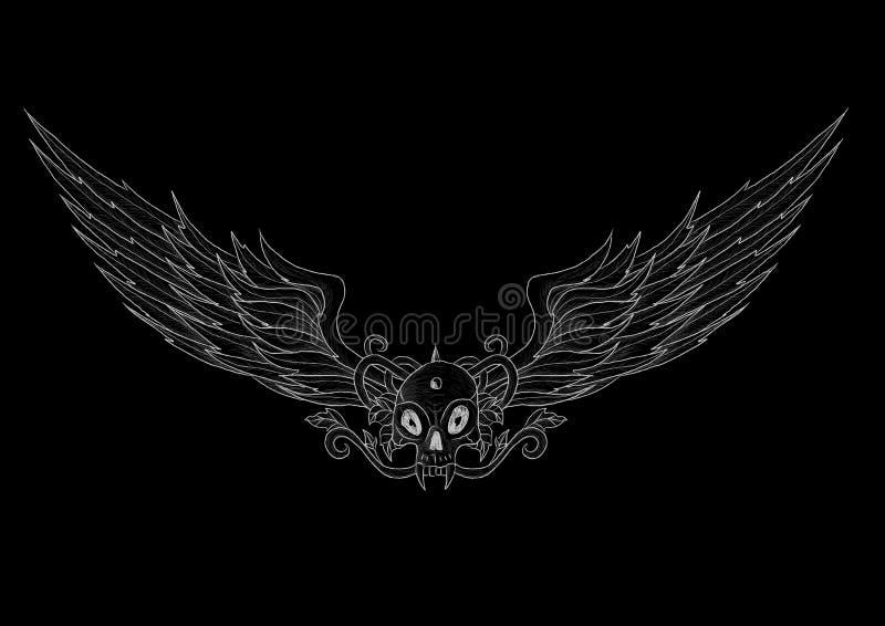 有翼的纹身花刺头骨在黑色 皇族释放例证