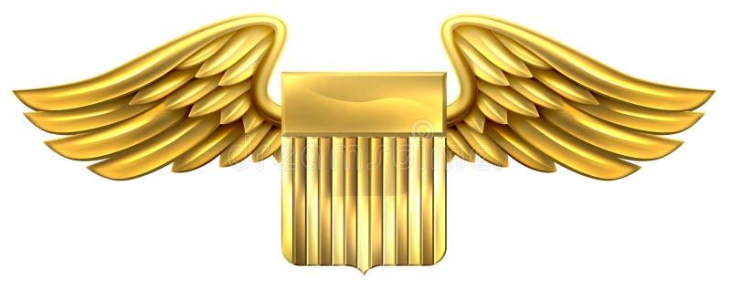 有翼的美国Godl盾 库存例证
