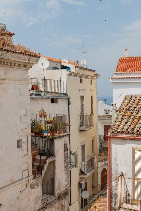 有老五颜六色的房子和屋顶的城市街道 库存图片
