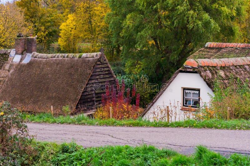 有老典型的荷兰村庄的乡下路与盖的屋顶 免版税库存图片