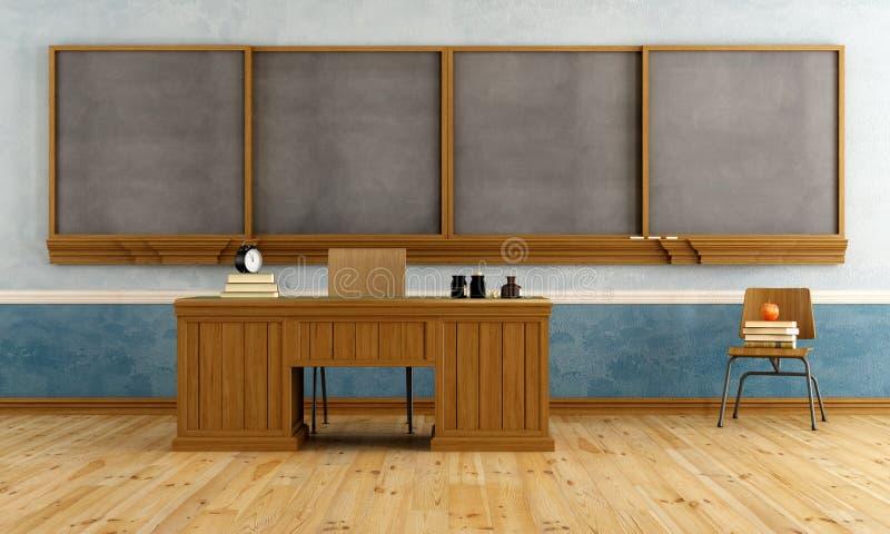 有老师的书桌的葡萄酒教室 库存例证