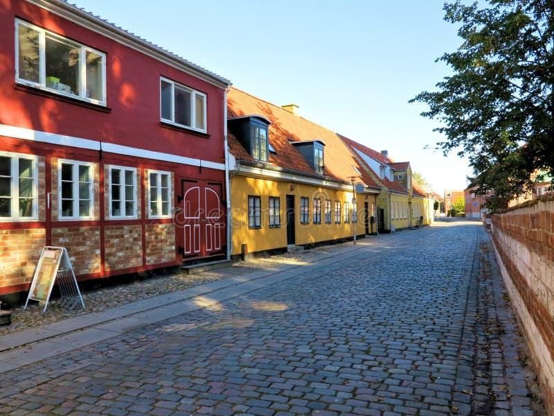 有老房子的, Koege丹麦街道 免版税库存照片