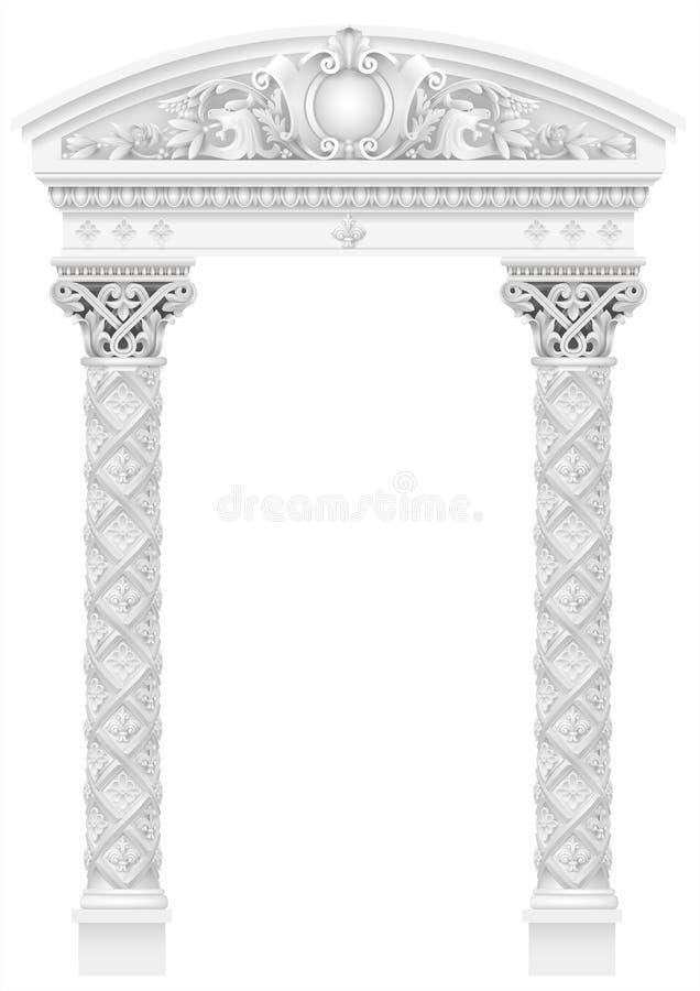 有老离子专栏的古色古香的白色柱廊 向量例证