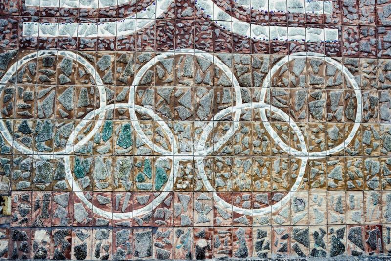 有老装饰品的墙壁标示用陶瓷砖苏联 免版税图库摄影