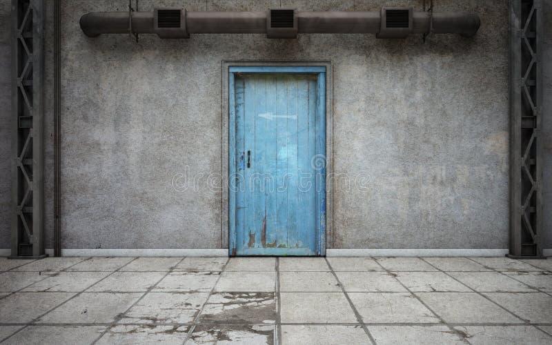有老门的黑暗的混凝土墙室 3d翻译 向量例证