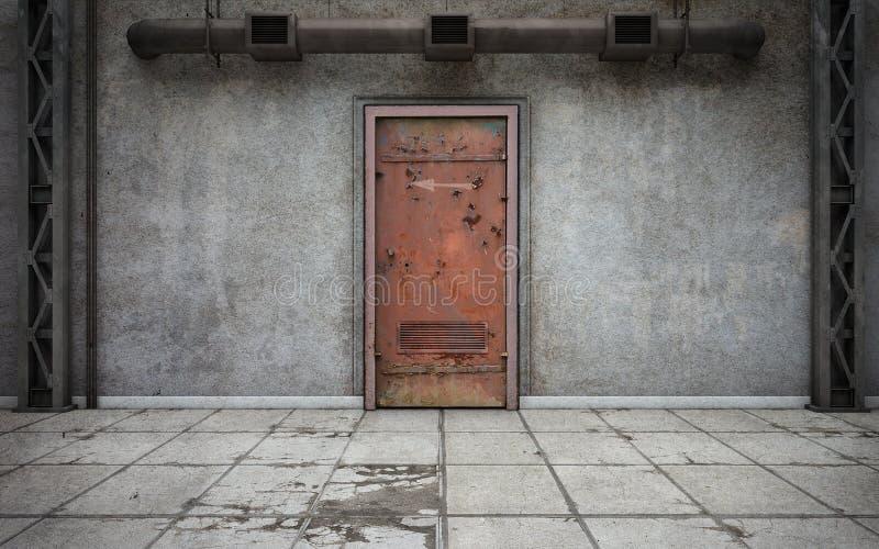 有老门的黑暗的混凝土墙室 3d翻译 库存例证