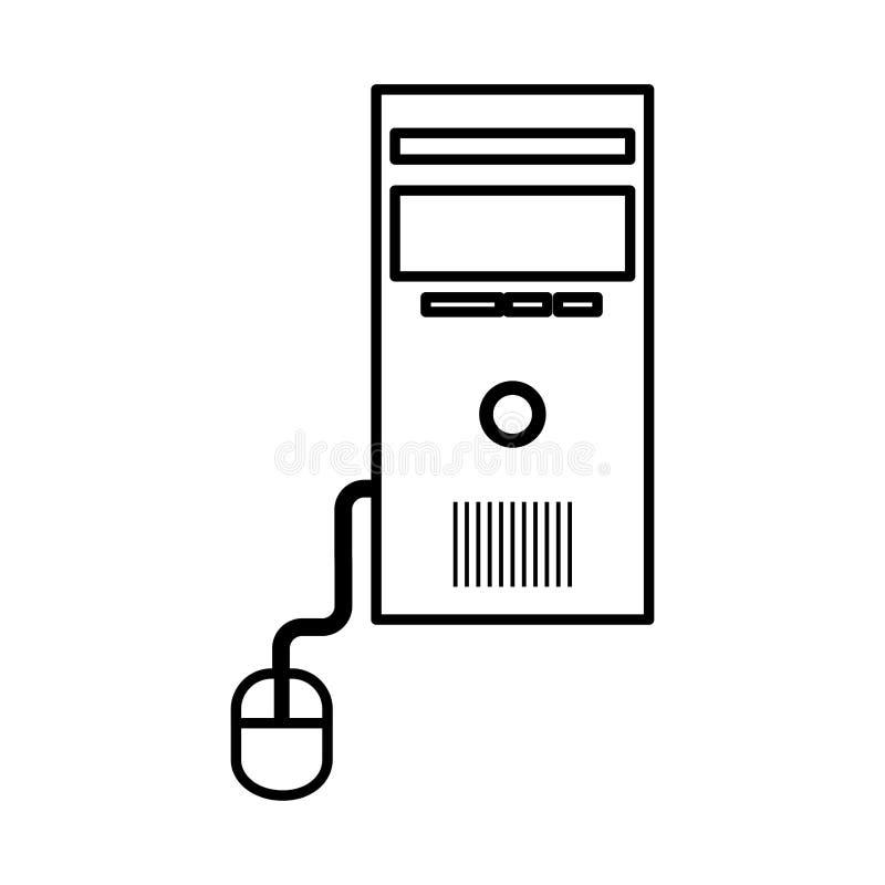 有老鼠被隔绝的象的计算机桌面cpu 皇族释放例证