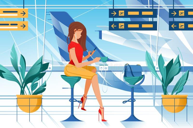 有耳机、茶和袋子的平的年轻女人在机场 库存例证