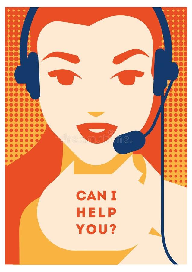 有耳机海报的电话中心操作员 客户服务和通信,用户支持,电话协助 皇族释放例证