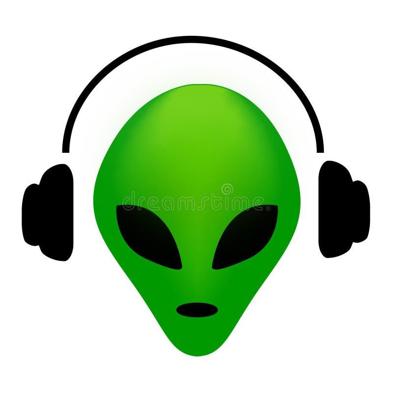 有耳机的外籍人 库存例证