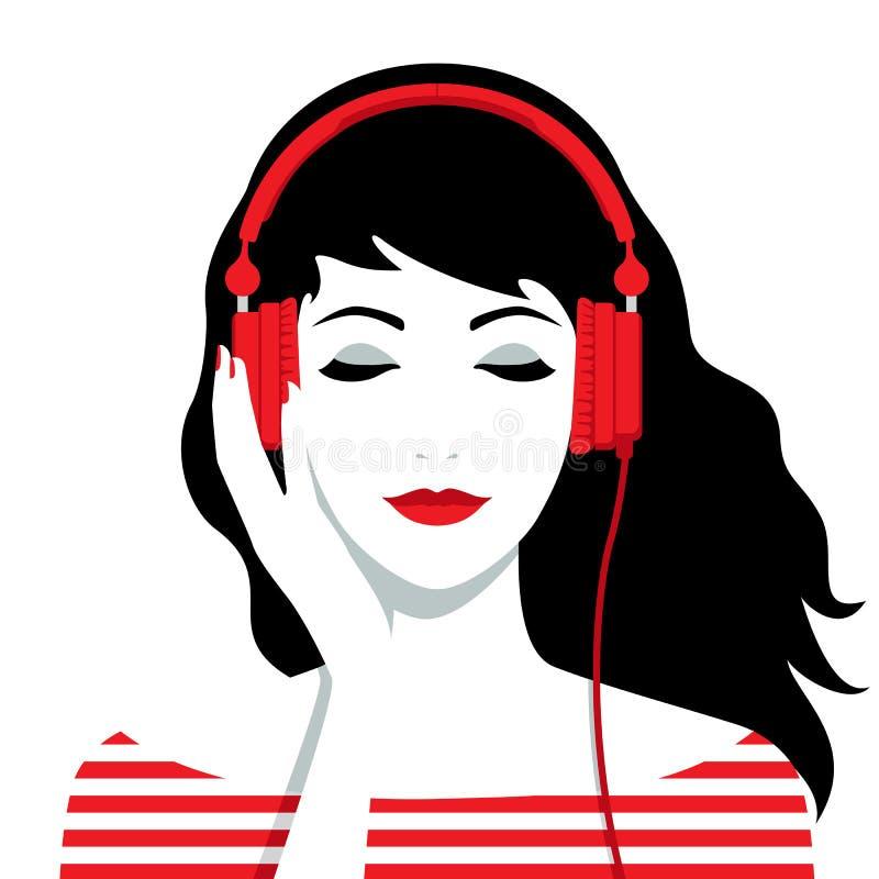 有耳机的女孩在她的头 库存例证