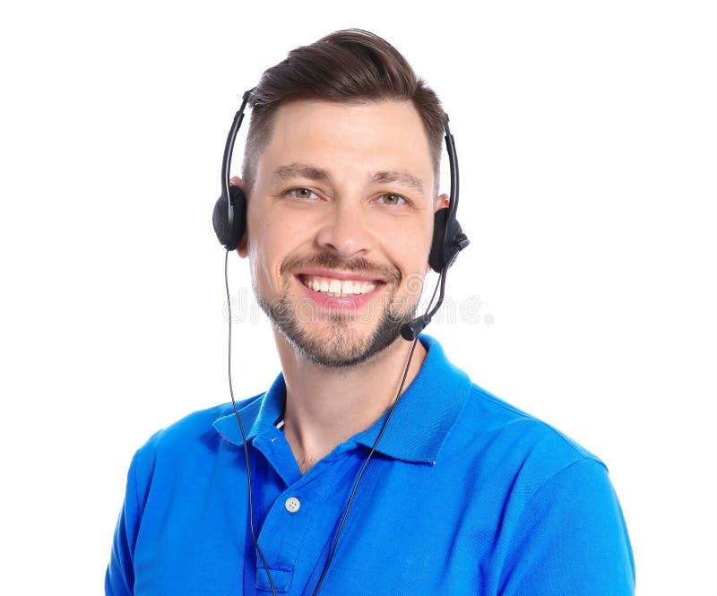 有耳机的技术支持操作员在白色背景 图库摄影