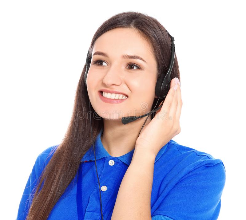 有耳机的技术支持操作员在白色背景 库存照片