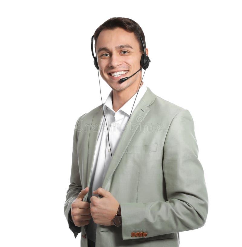 有耳机的技术支持操作员 免版税库存照片