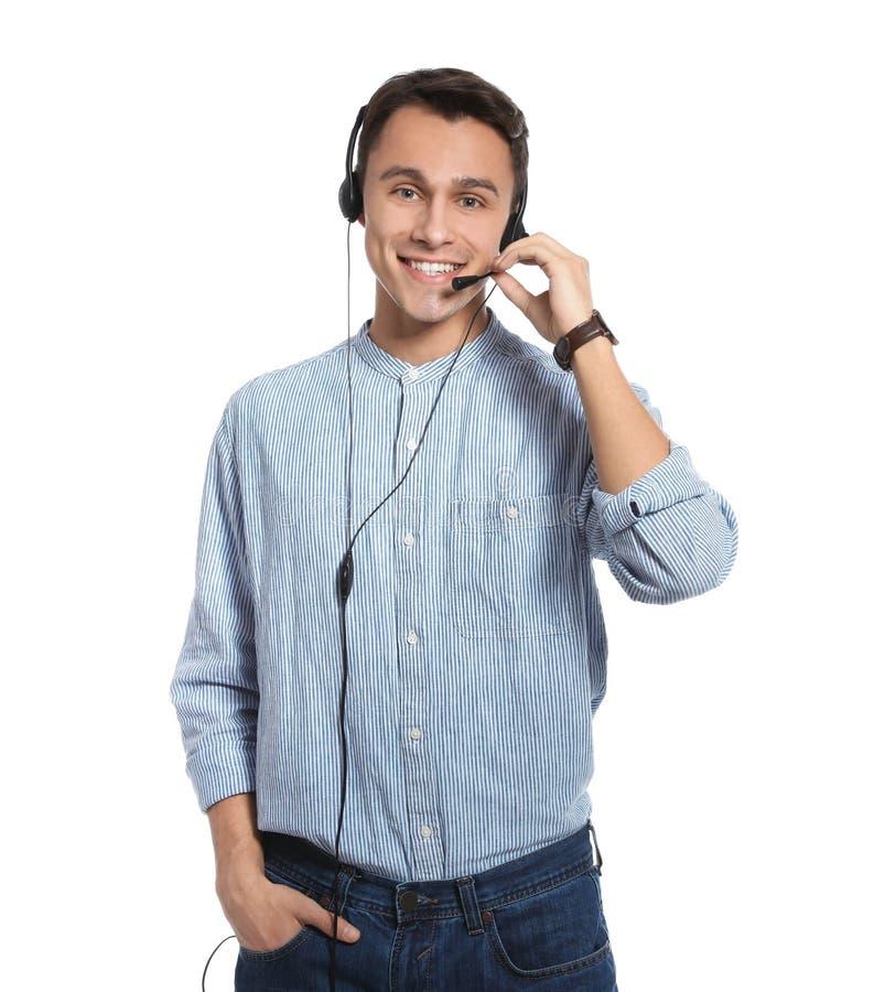 有耳机的技术支持操作员 库存照片