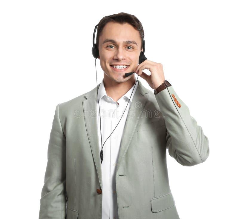 有耳机的技术支持操作员 库存图片