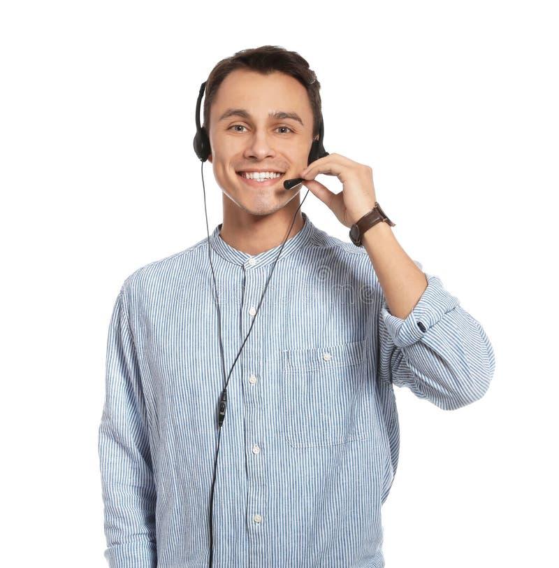 有耳机的技术支持操作员 图库摄影