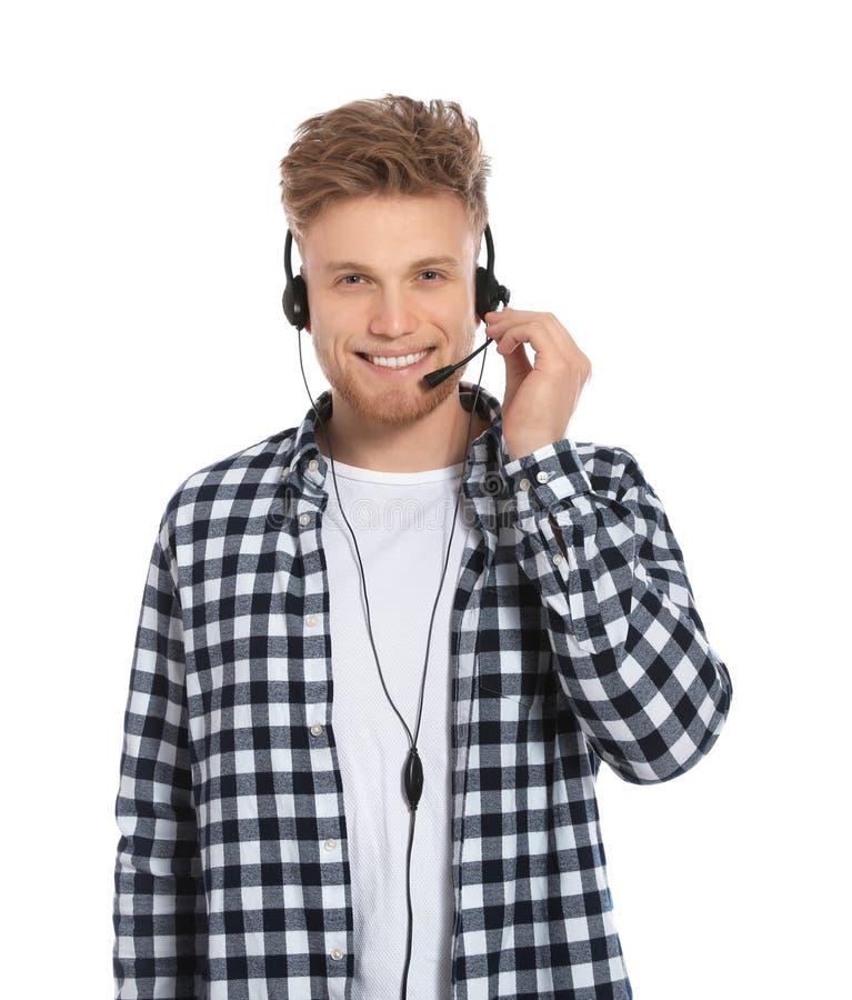有耳机的技术支持操作员 免版税库存图片