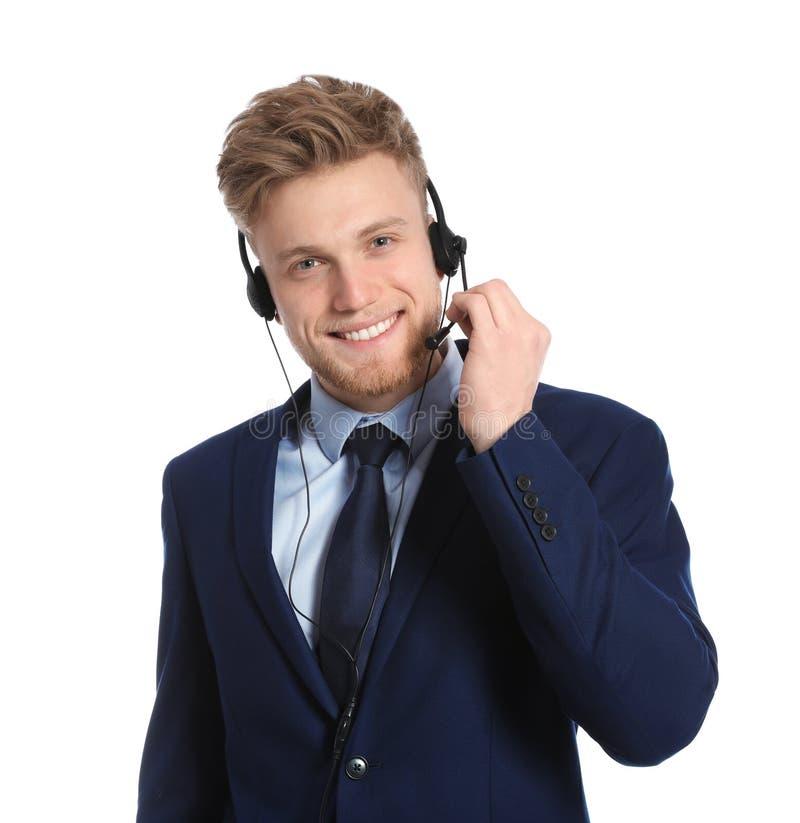 有耳机的技术支持操作员 免版税图库摄影