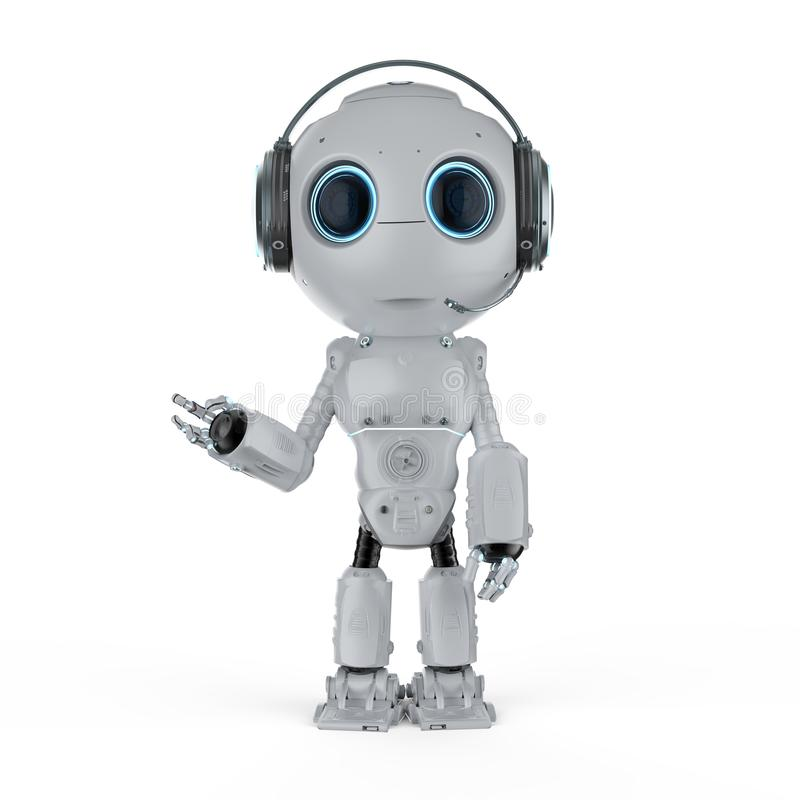 有耳机的机器人 皇族释放例证