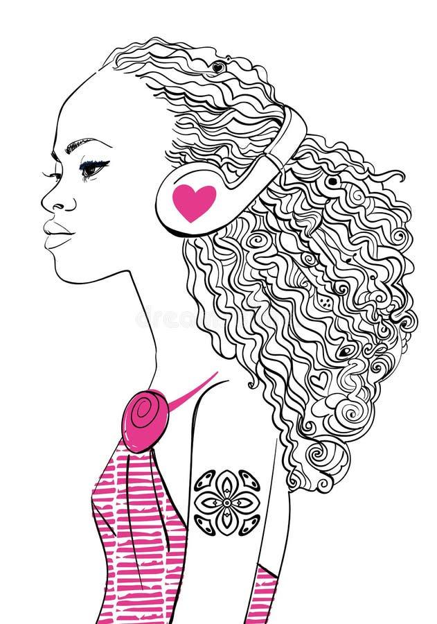 有耳机的美丽的女孩 皇族释放例证