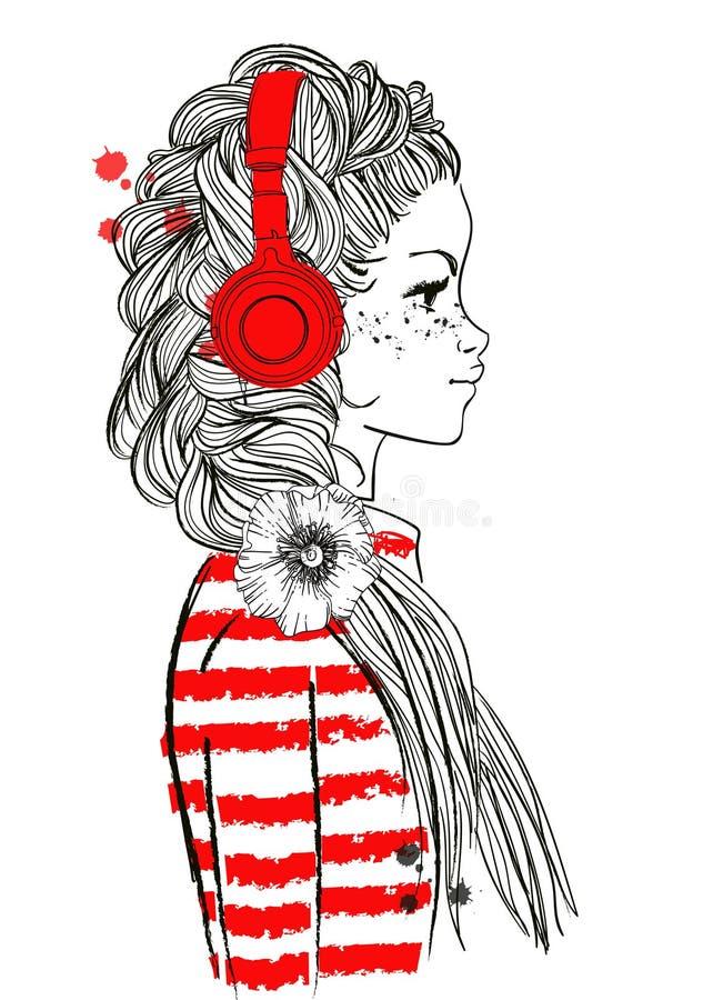 有耳机的美丽的女孩 库存例证