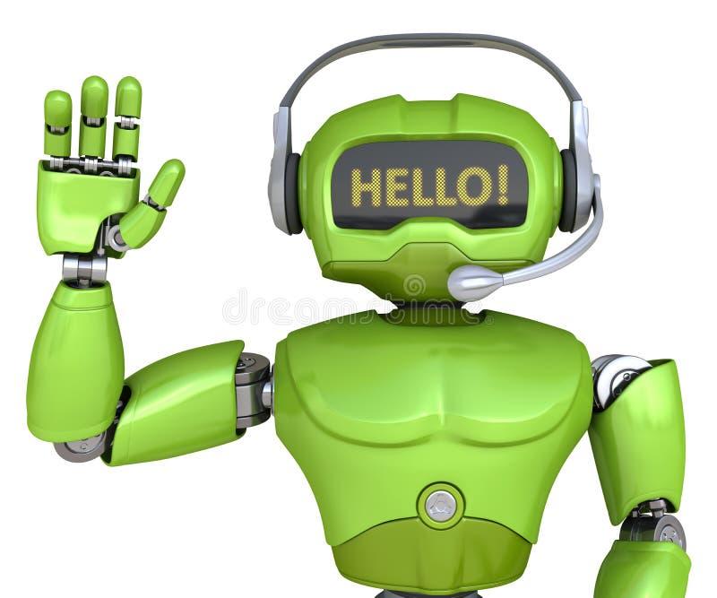 有耳机的逗人喜爱的机器人 皇族释放例证