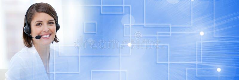 有耳机的顾客服务助理有技术的连接明亮的背景 向量例证