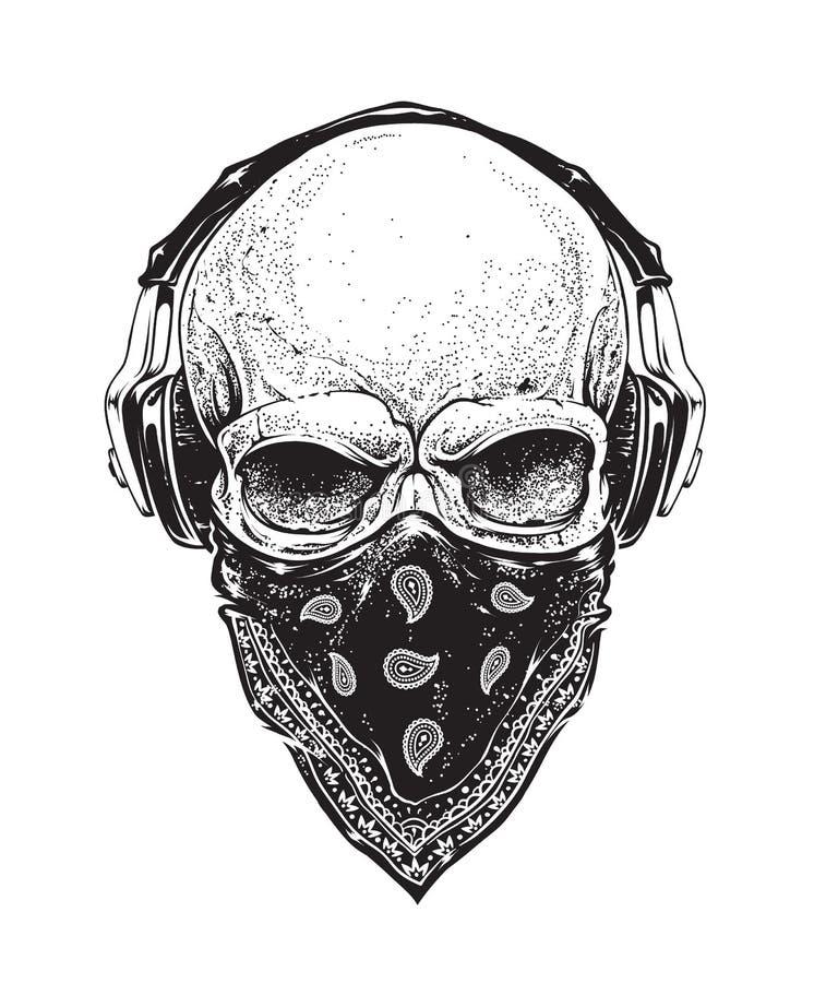 有耳机的头骨 向量例证