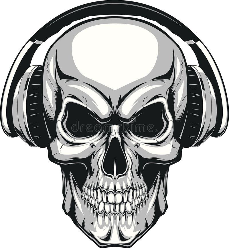 有耳机的头骨 皇族释放例证