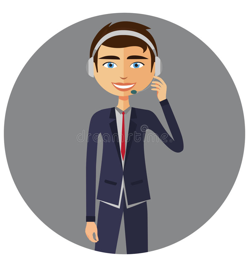 有耳机顾客服务帮助台服务的一个操作员人 皇族释放例证
