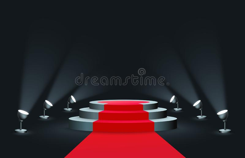 有聚光灯现实样式照亮的隆重的空的圆的指挥台 皇族释放例证