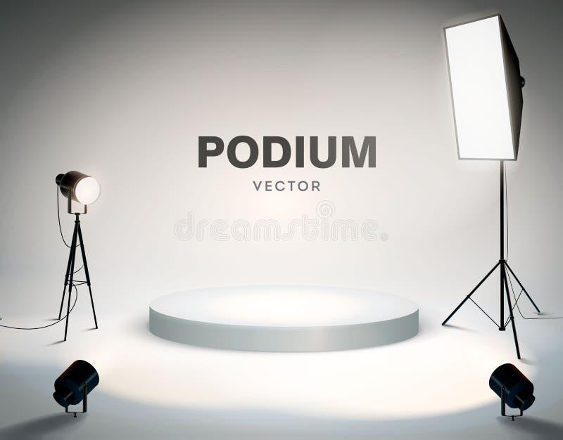 有聚光灯的圆的指挥台 现代photostudio ?? r 库存例证