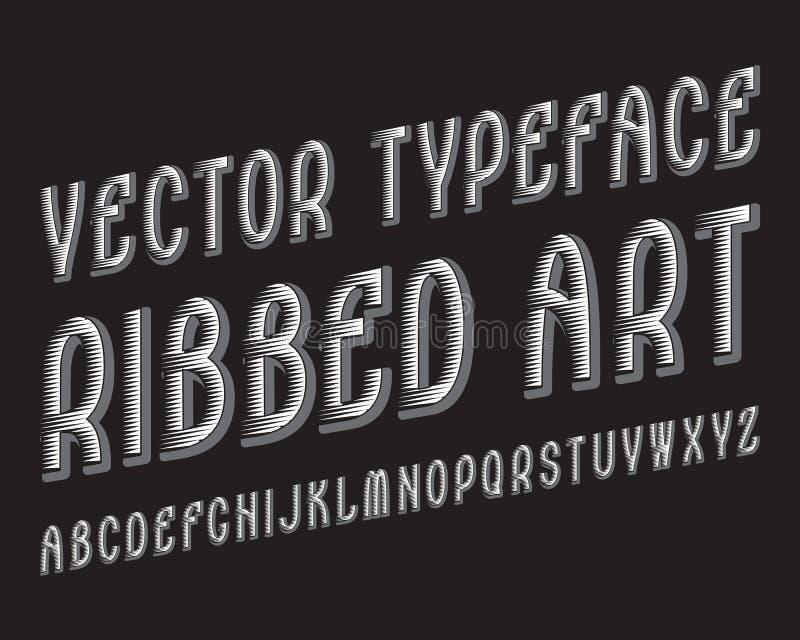 有肋骨艺术传染媒介字体 白色灰色不同的字体 被隔绝的英语字母表 向量例证