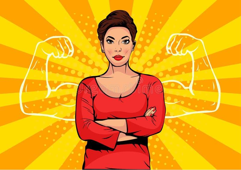 有肌肉流行艺术减速火箭的样式的女实业家 在可笑的样式的强的商人 库存例证