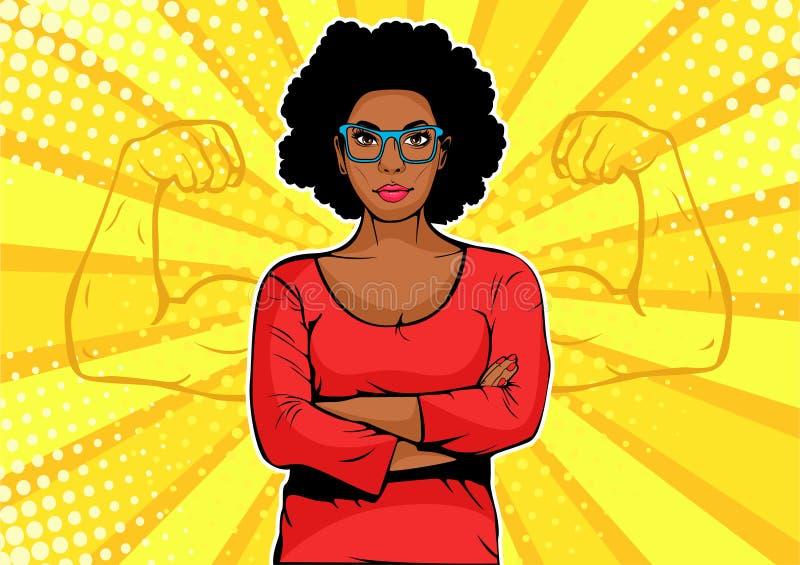 有肌肉流行艺术减速火箭的样式的美国黑人的女实业家 在可笑的样式的强的商人 皇族释放例证