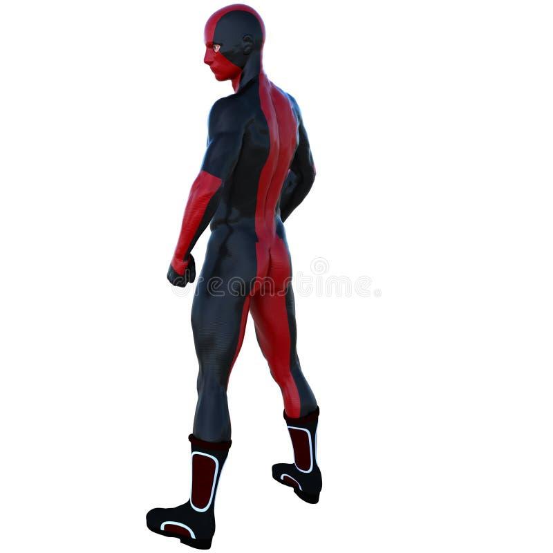 有肌肉的一个年轻超级英雄人在红色黑超级衣服 库存照片
