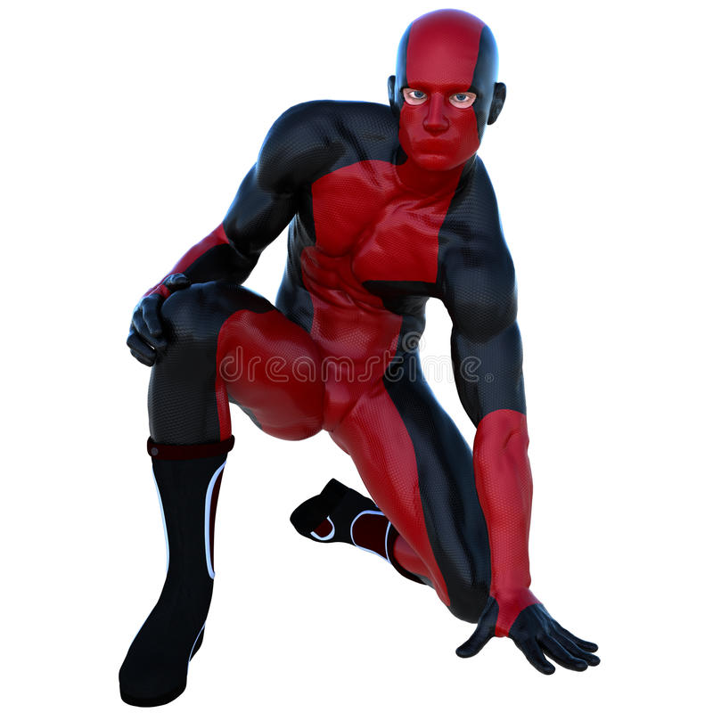 有肌肉的一个年轻超级英雄人在红色黑超级衣服 免版税图库摄影