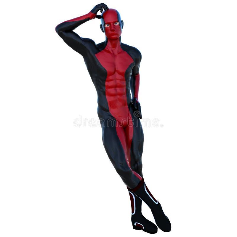 有肌肉的一个年轻超级英雄人在红色黑超级衣服 库存例证