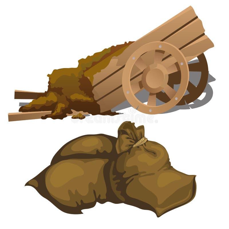 有肥料和旧布袋子的木推车 库存例证