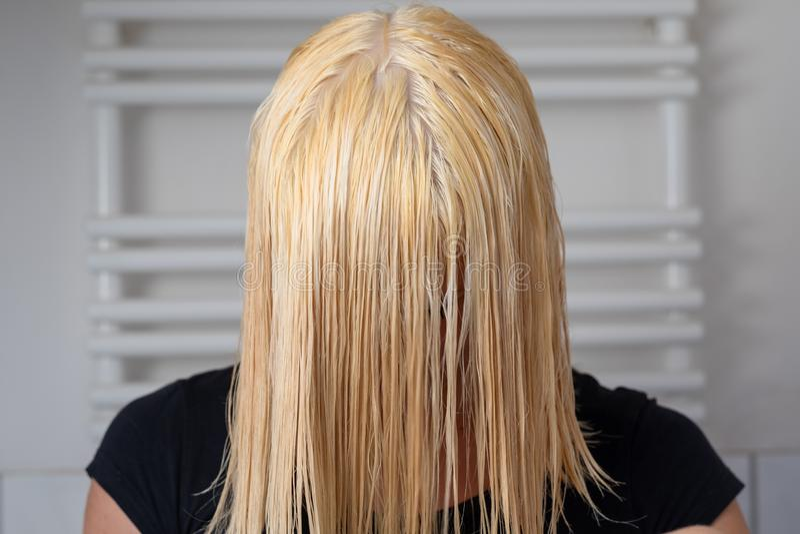 有肩膀长度湿头发的白肤金发的妇女 库存图片