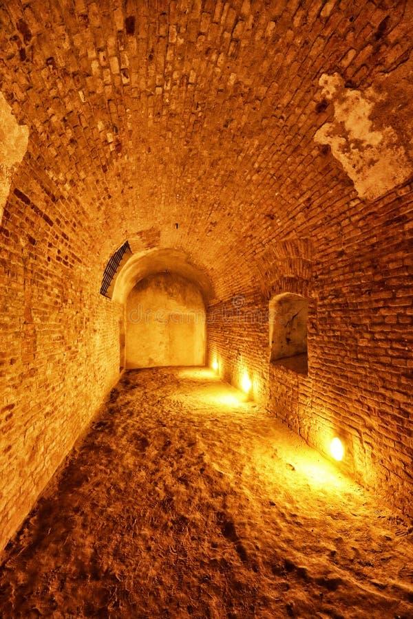 有肮脏的地板的老有圆顶地窖 免版税库存照片