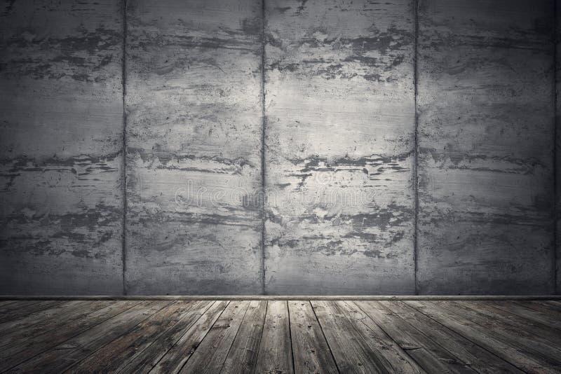 有肮脏的混凝土墙和木地板的内部室 3d烈 库存例证