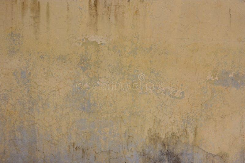 有肮脏的灰泥纹理的老黄色杂乱墙壁背景的, 免版税库存照片