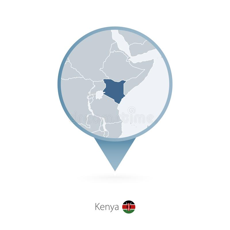 有肯尼亚和邻国详细的地图的地图别针  向量例证