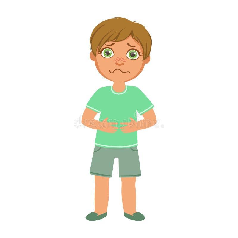 有胃痉挛的男孩,感到病的孩子不适由于憔悴,一部分的孩子和健康问题系列  向量例证